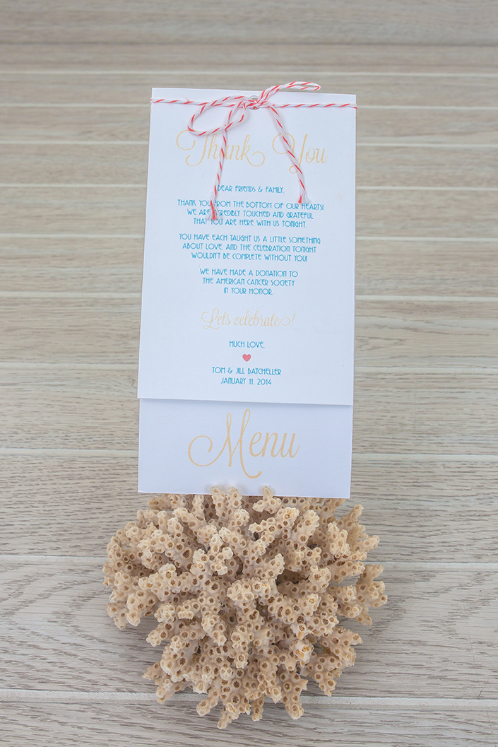 Wedding menu and thank you note