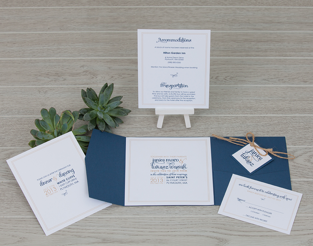 Navy blue square pocket fold wedding invitation