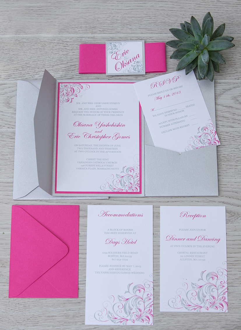 Silver and pink pocket fold wedding invitation