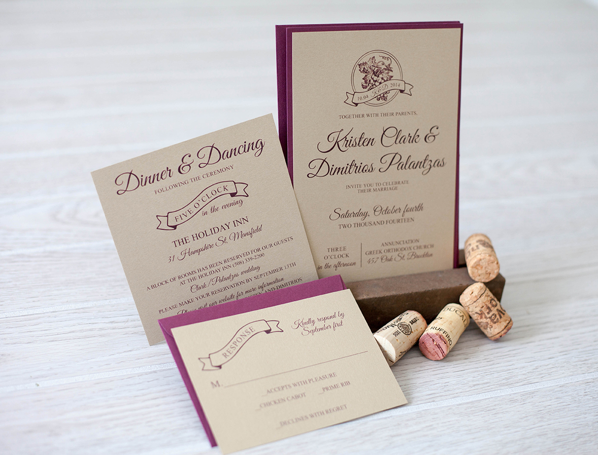 Merlot and gold fall wedding invitation