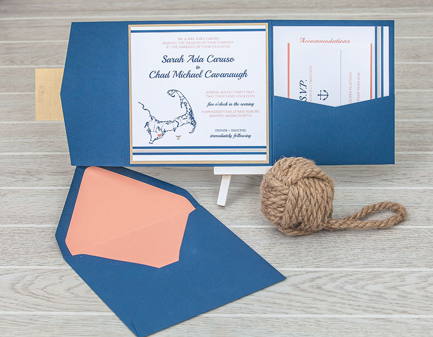 Nautical Square Pocket Wedding Invitation