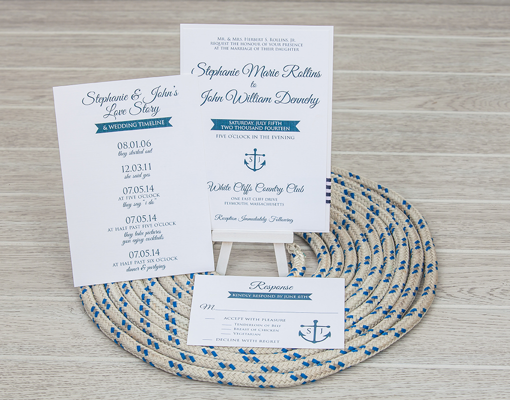 Navy blue and white nautical panel pocket wedding invitation