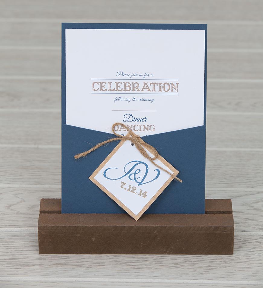 Rustic Panel Pocket Wedding Invitation