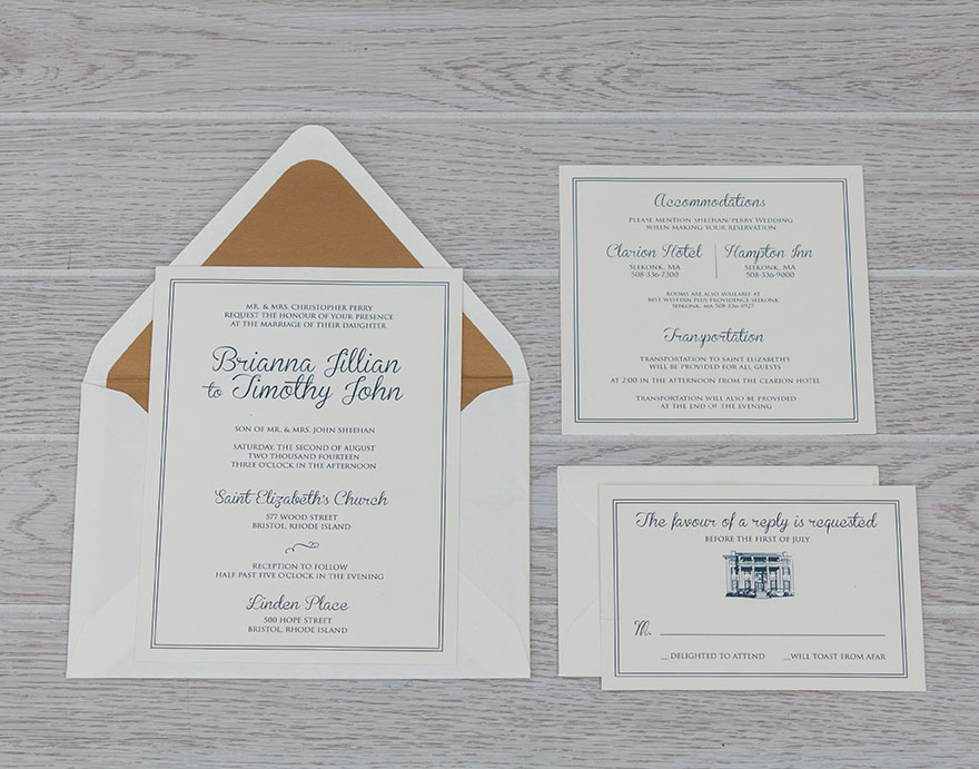 Classic Navy Blue & Antique Gold Wedding invitation