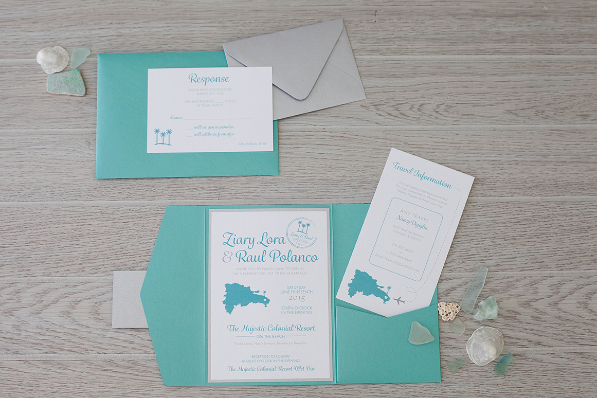 Turquoise pocket fold invitation | Destination Wedding