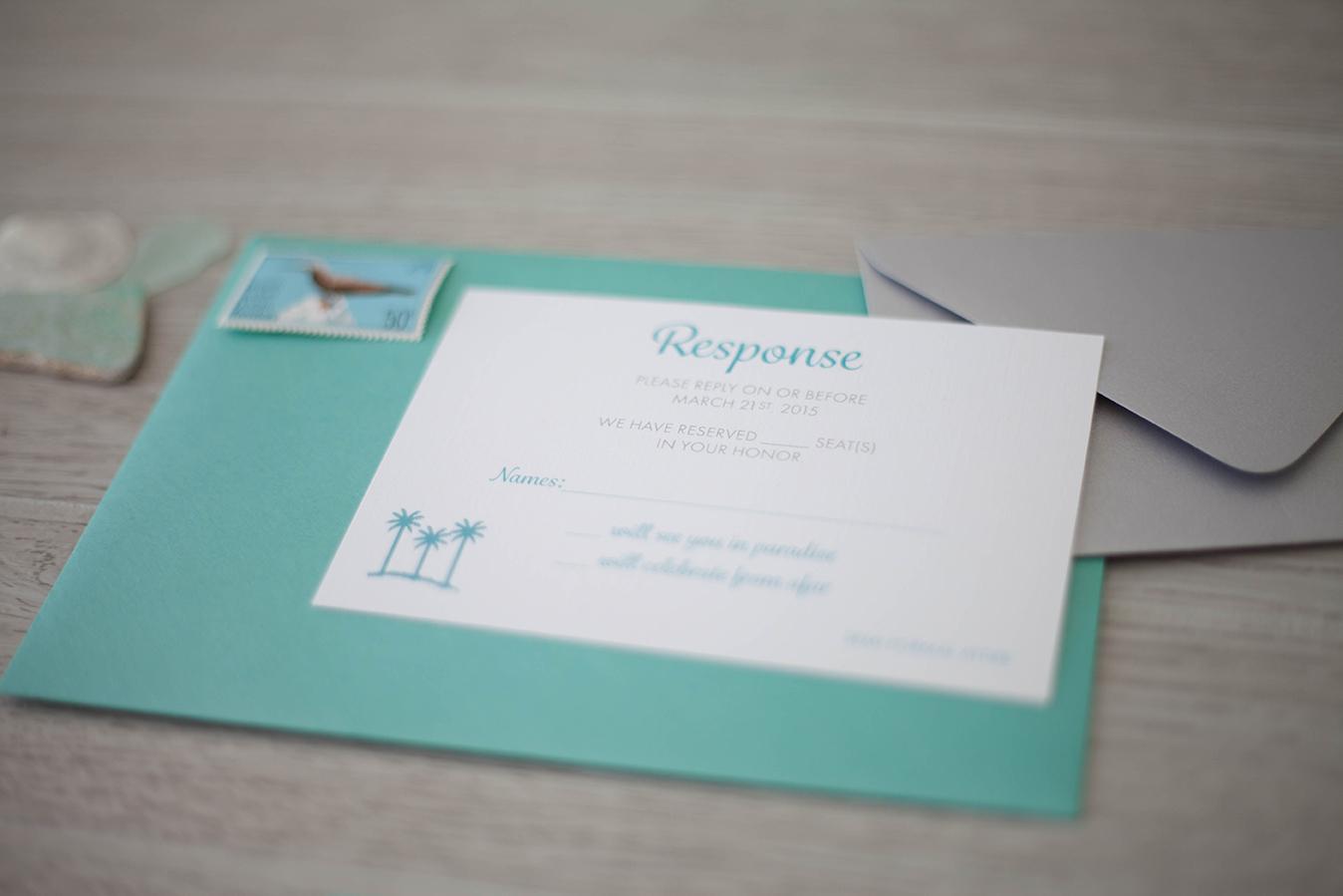 Turquoise pocket fold invitation | Destination Wedding