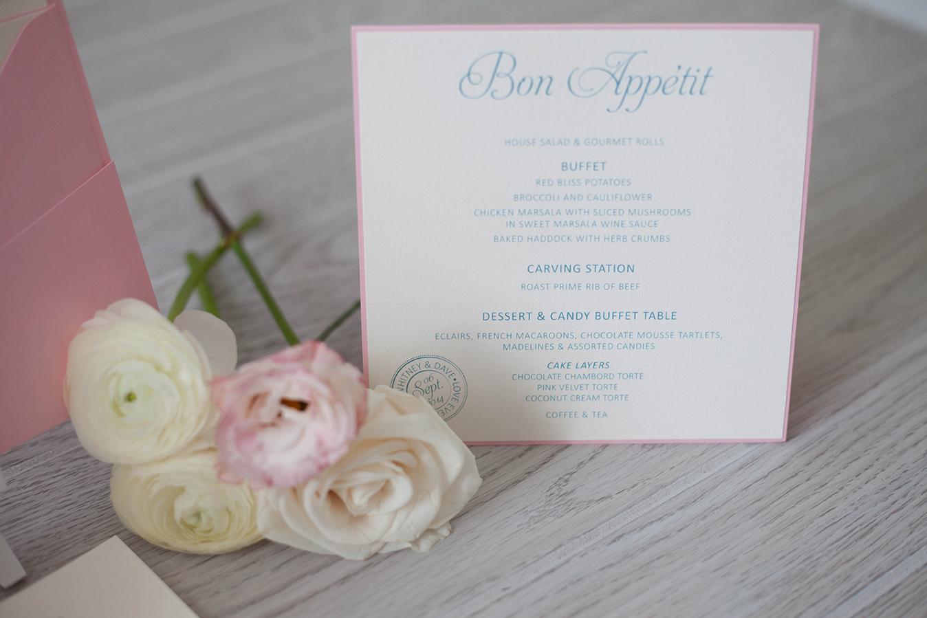 Wedding Menu | French Inspired
