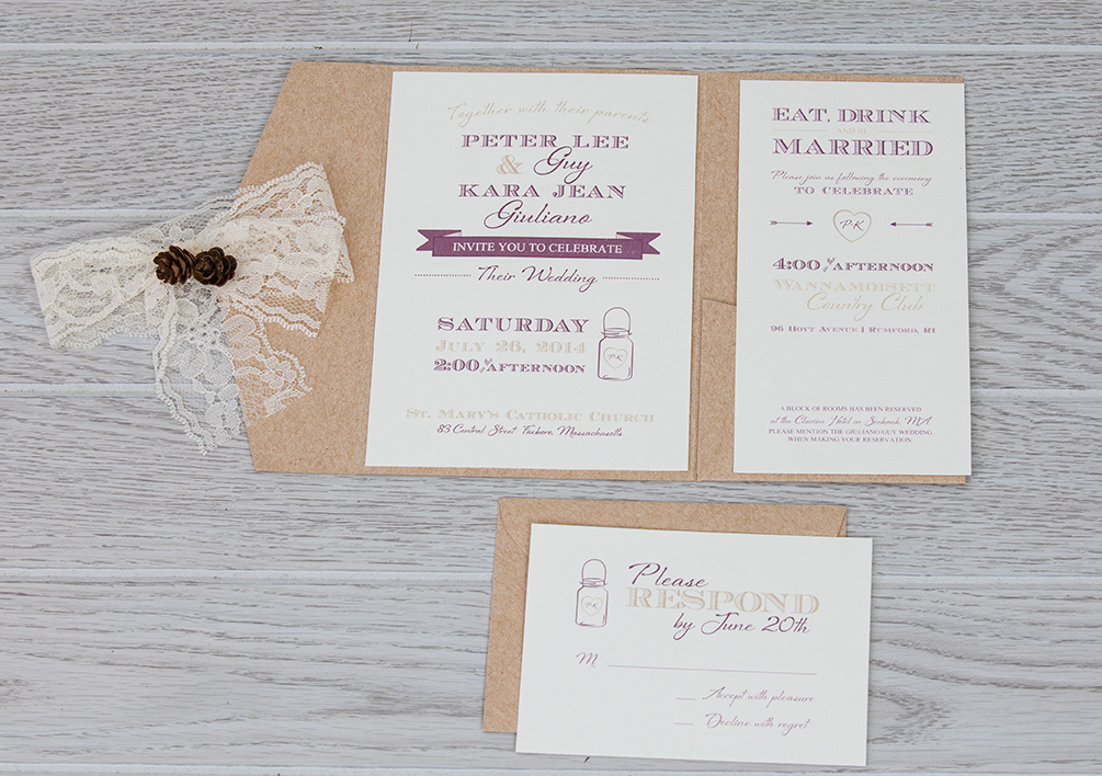 Kraft and Lace Pocket Fold Wedding Invitation | Rustic