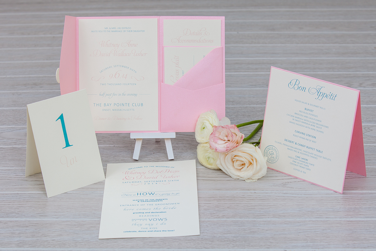 Pink and blue pocket fold wedding invitation | French inspired
