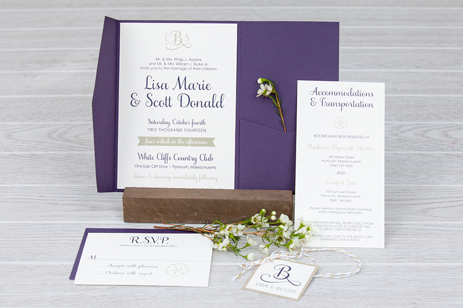 Plum and Gold Pocket Fold Wedding Invitation | Fall Wedding